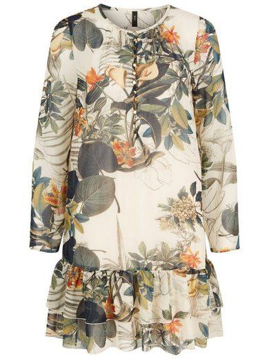 Y.A.S Geblümtes Volant- Kleid mit langen Ärmeln