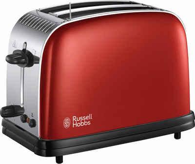 RUSSELL HOBBS Toaster Colours Plus+ Flame Red 23330-56, 2 kurze Schlitze, für 2 Scheiben, 1670 W