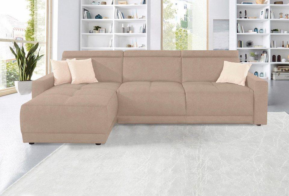 domo collection ecksofa mit recamiere federkern wahlweise mit kopfteilverstellungen online. Black Bedroom Furniture Sets. Home Design Ideas