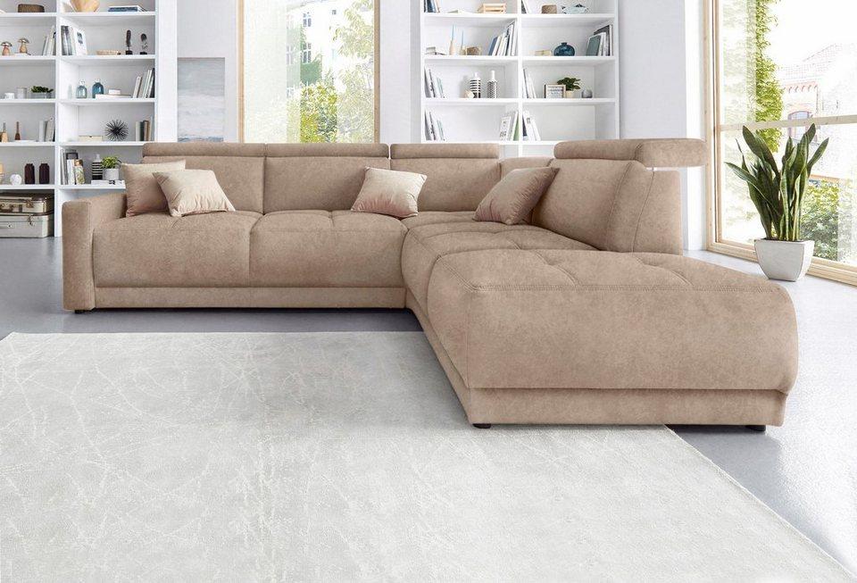 domo collection ecksofa mit ottomane federkern wahlweise mit kopfteilverstellungen online. Black Bedroom Furniture Sets. Home Design Ideas