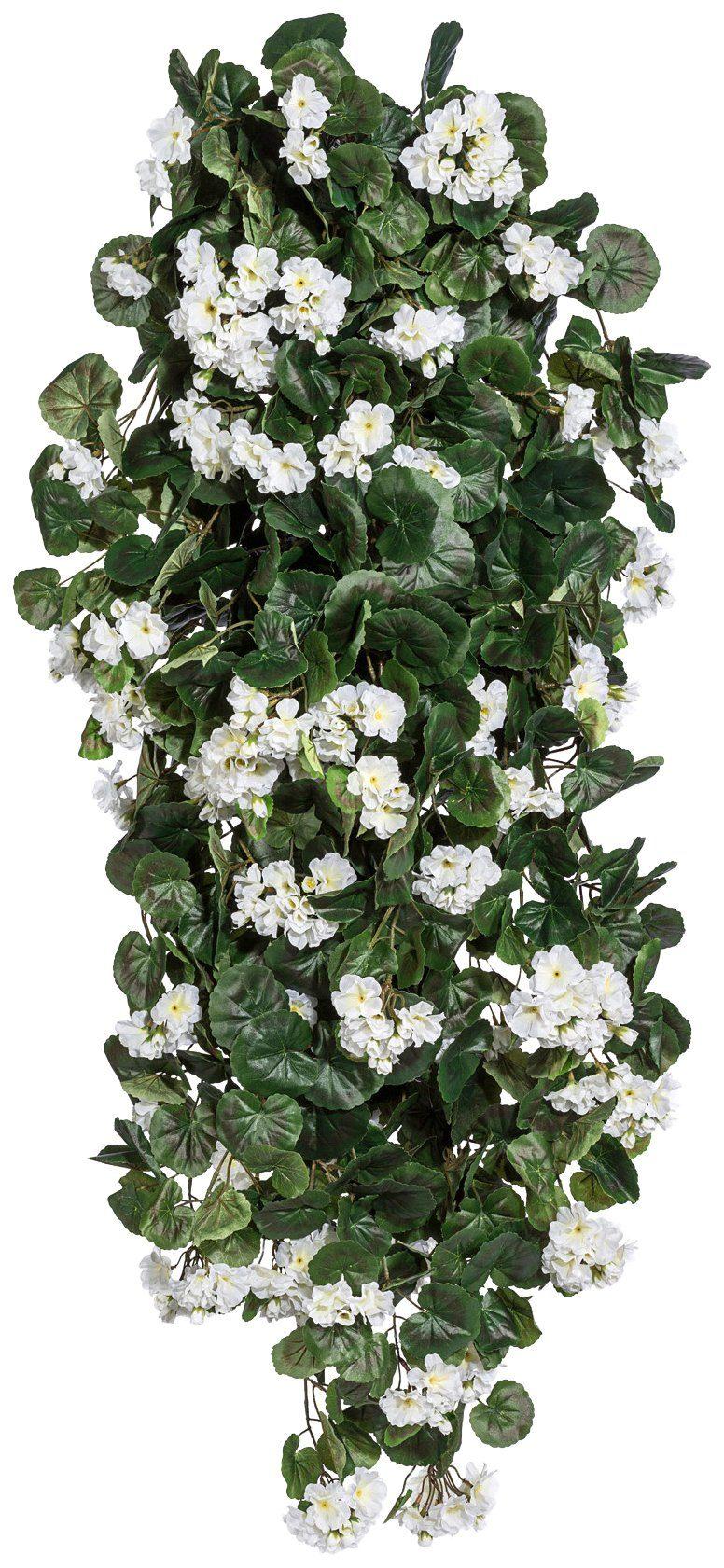 Kunstpflanze »Geranien-Hänger«, Höhe 120 cm, weiß