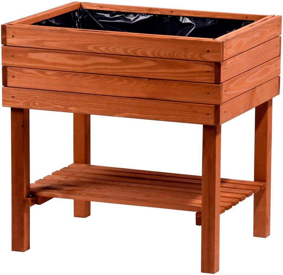dobar hochbeet b t h 80 60 80 cm mit ablagefl che online kaufen otto. Black Bedroom Furniture Sets. Home Design Ideas
