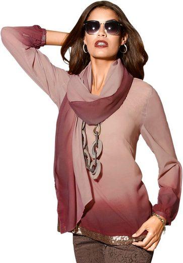 Création L Bluse + Schal im harmonischen Farbverlauf