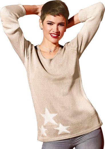 Création L Pullover mit eingestrickten Sternen