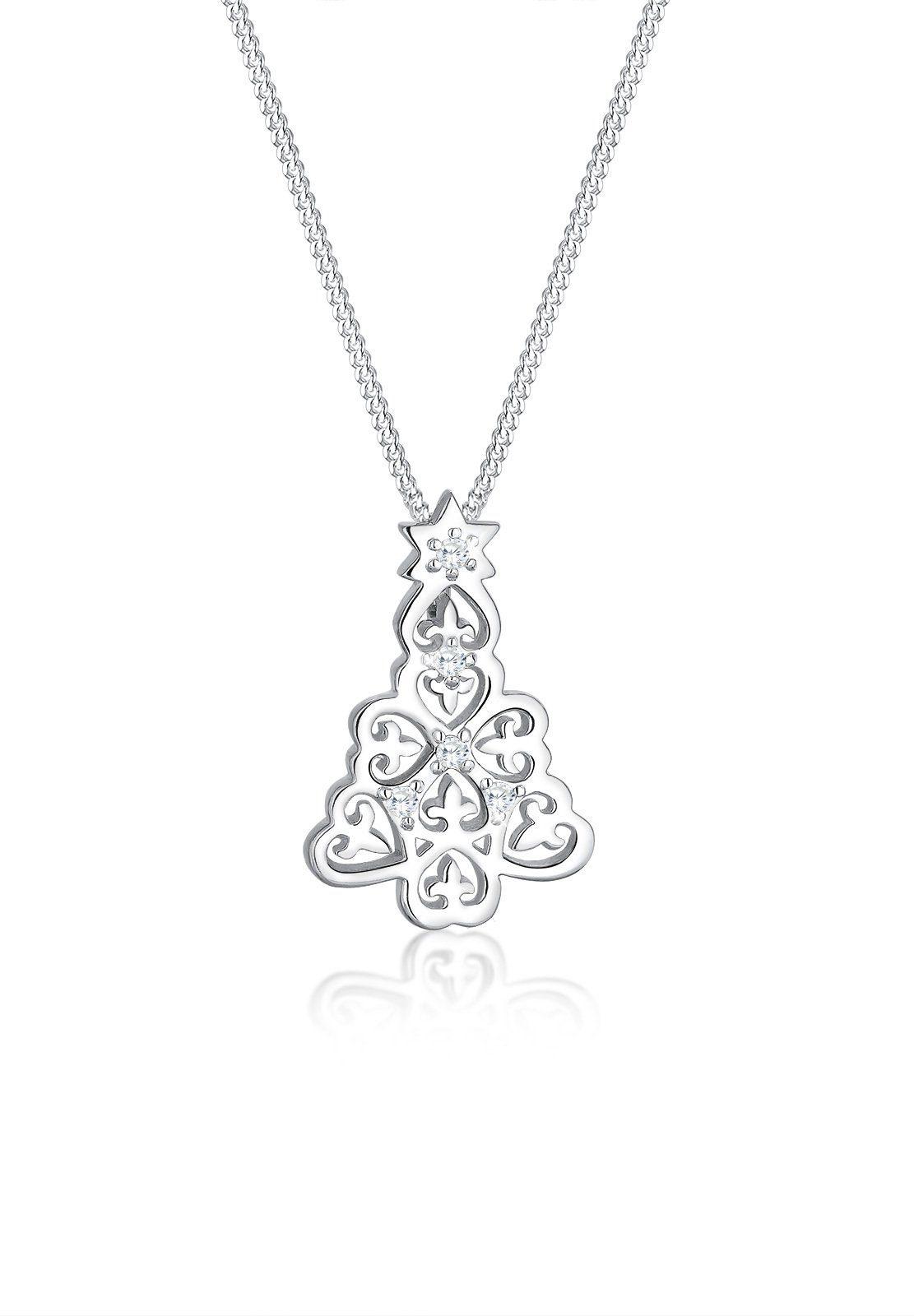 Elli Halskette »Tannenbaum Zirkonia Weihnachten 925 Silber«
