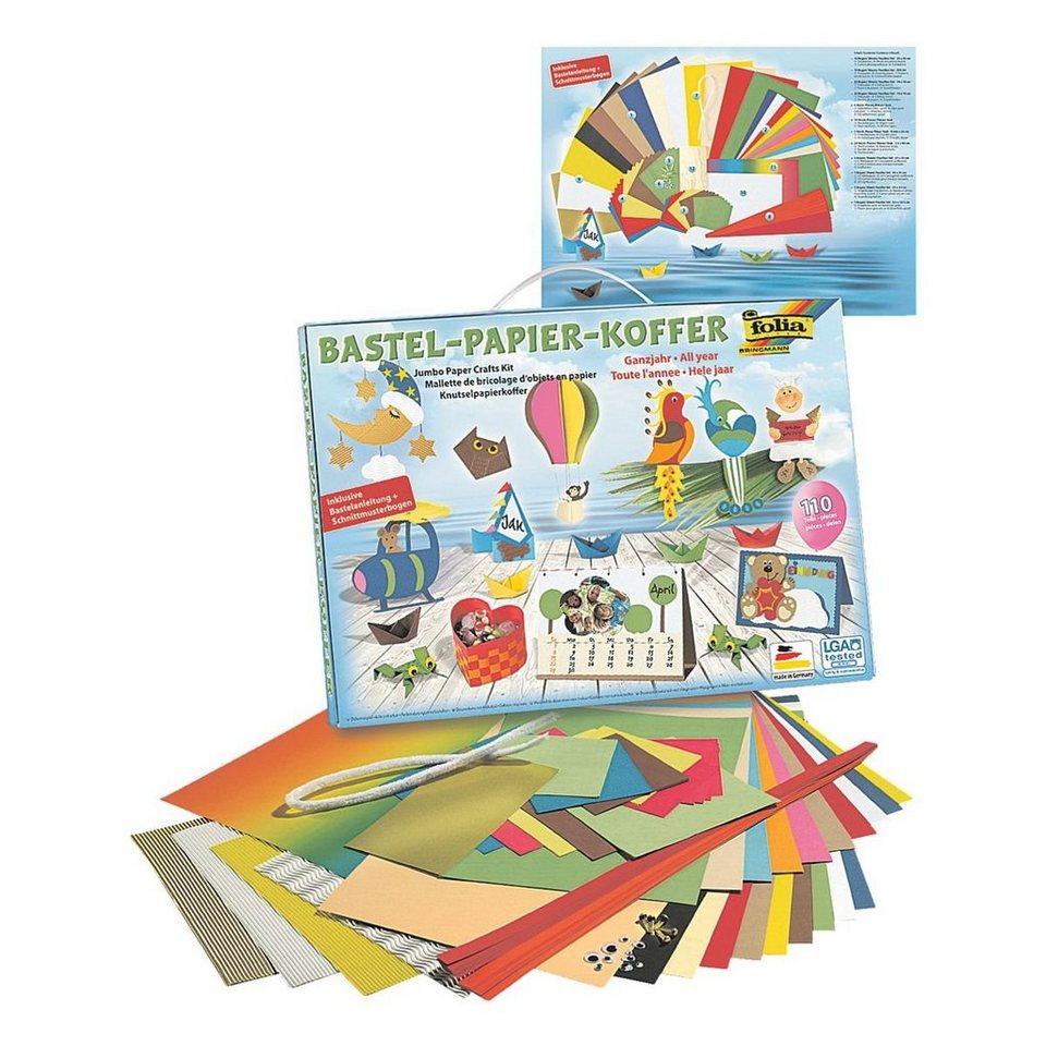 Folia Bastelpapier-Koffer  Ganzjahr 110-teilig