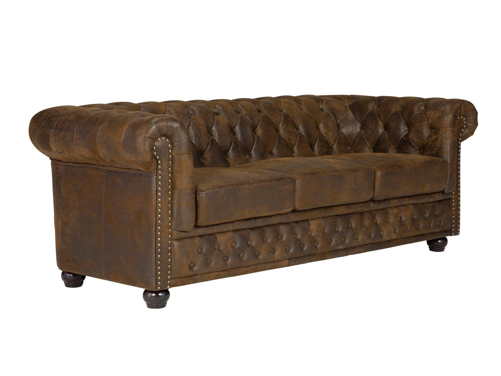 massivum Sofa aus Microfaser »Chesterfield« | Wohnzimmer > Sofas & Couches > Chesterfield Sofas | Stoff - Massivholz | massivum