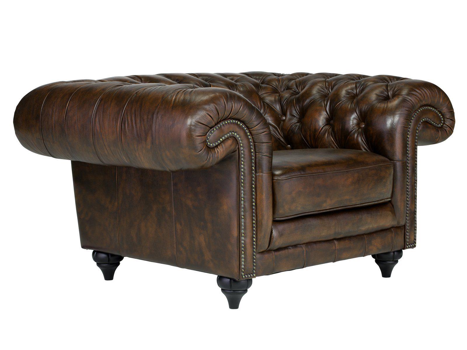massivum Sessel aus Echtleder »Chesterfield Clifton «