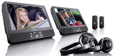 lenco tragbarer dvd player im set mit halterung per spange. Black Bedroom Furniture Sets. Home Design Ideas