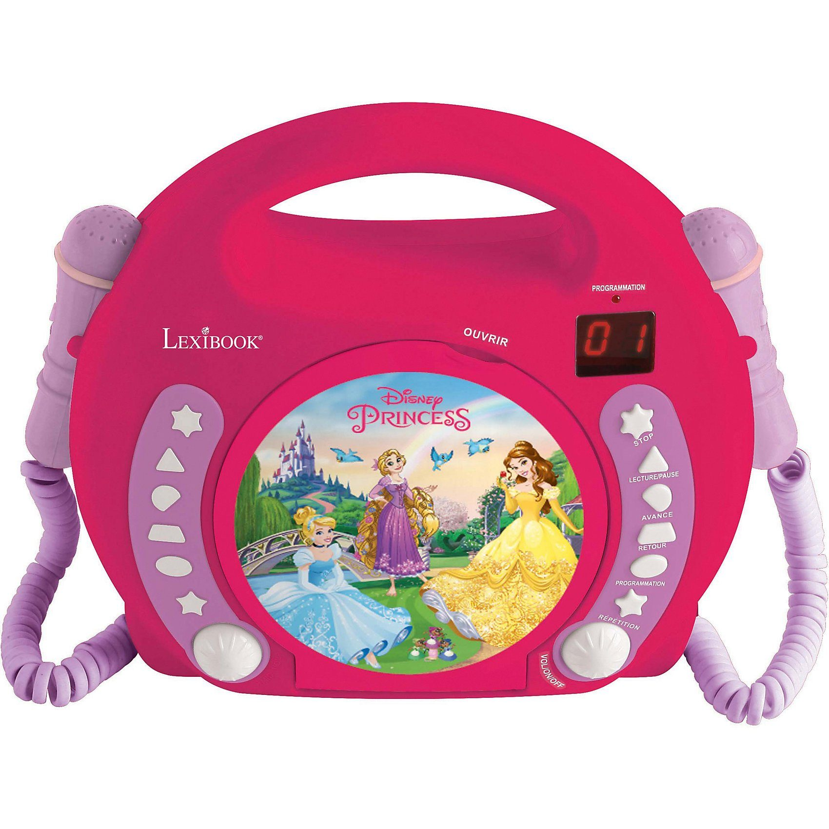 Lexibook® Disney Princess Kinder CD-Player mit 2 Mikrofonen