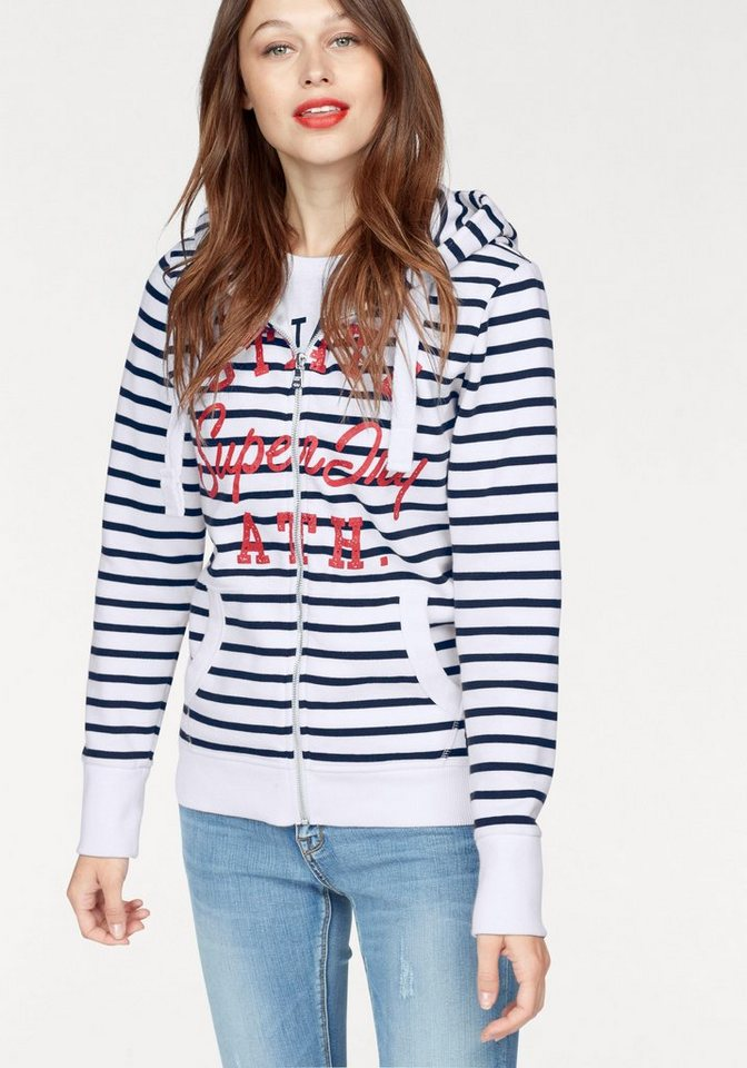 superdry sweatjacke state ath stripe ziphood mit frontprint im vintage look online kaufen otto. Black Bedroom Furniture Sets. Home Design Ideas