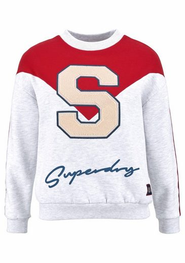 Superdry Sweatshirt S STATEMENT CREW SWEAT, mit großen Logo Details