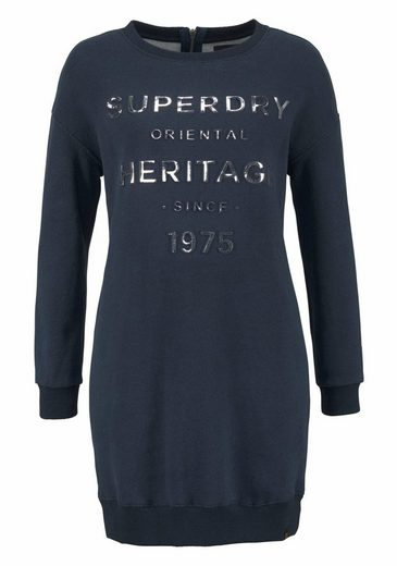 Superdry Sweatkleid IONA EMBOSSED SWEAT DRESS, mit geprägtem Frontprint in Metalloptik
