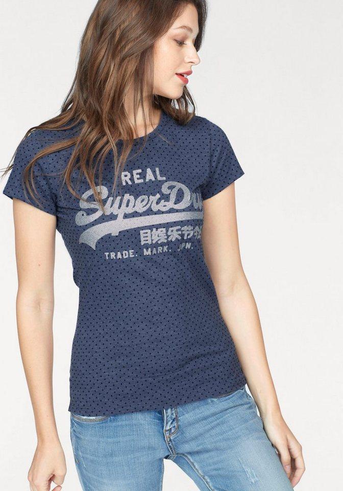 superdry t shirt vintage logo flock dot entry tee mit. Black Bedroom Furniture Sets. Home Design Ideas
