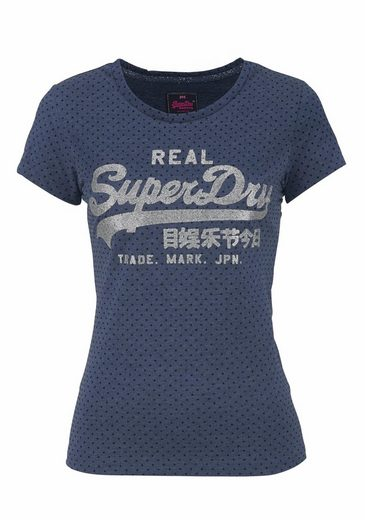 Superdry T-Shirt VINTAGE LOGO FLOCK DOT ENTRY TEE, mit Pünktchen Flock