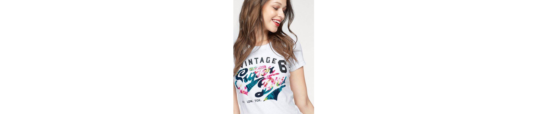 Superdry T-Shirt STACKER FLOCK AOP ENTRY TEE, mit floralem Logo Flock