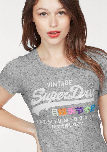 Superdry Print-Shirt PREMIUM GOODS POP ENTRY TEE, mit neonfarbigem Print