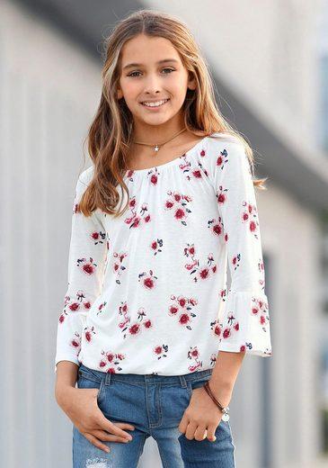 KIDSWORLD Carmenshirt mit Trompetenärmel und Blumendruck