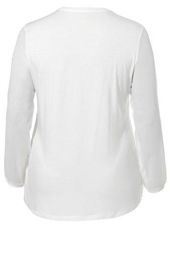 FRAPP Shirt mit Schmuckstein-Besatz