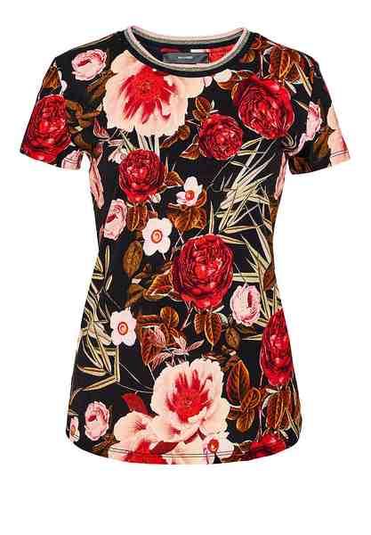 HALLHUBER Rosen-T-Shirt mit Lurex-Ausschnitt