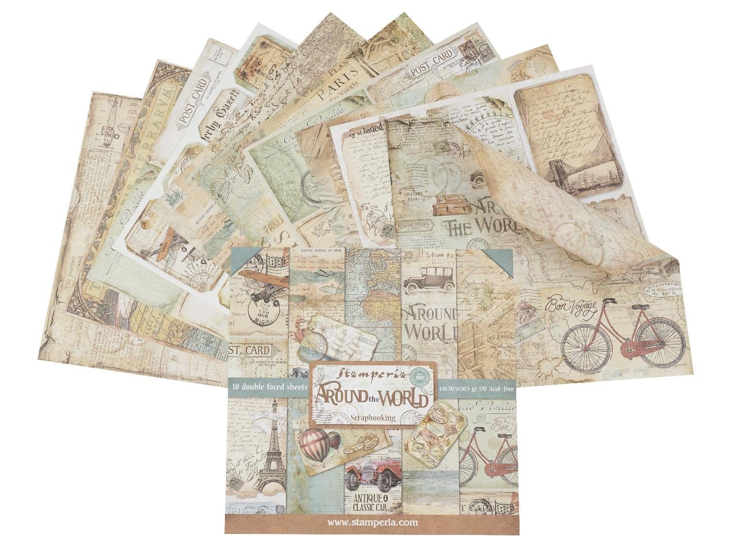 "Stamperia Scrapbook-Block ""Around the World"" Motivpapier"