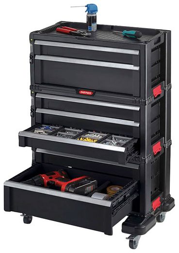 Keter Werkstattwagen, abschließbar, 7 Schubladen, inkl. integrierte Werkzeugablage