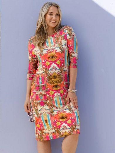 MIAMODA Jerseykleid mit Dekosteinen am Ausschnitt