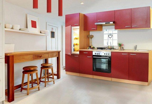Respekta Küchenzeile LBKB270BR 270 cm ohne Geräte Rot-Buche Nachbildung