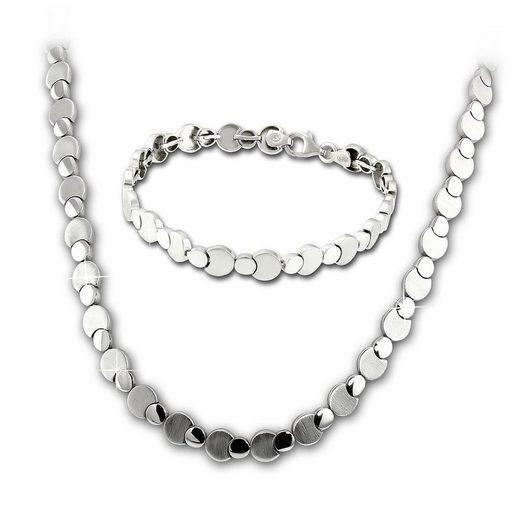 SilberDream Schmuckset »SDS474J SilberDream Circles Collier und Armband« (Schmucksets, 2-tlg), Damen Schmucksets aus 925 Sterling Silber, Farbe: silber