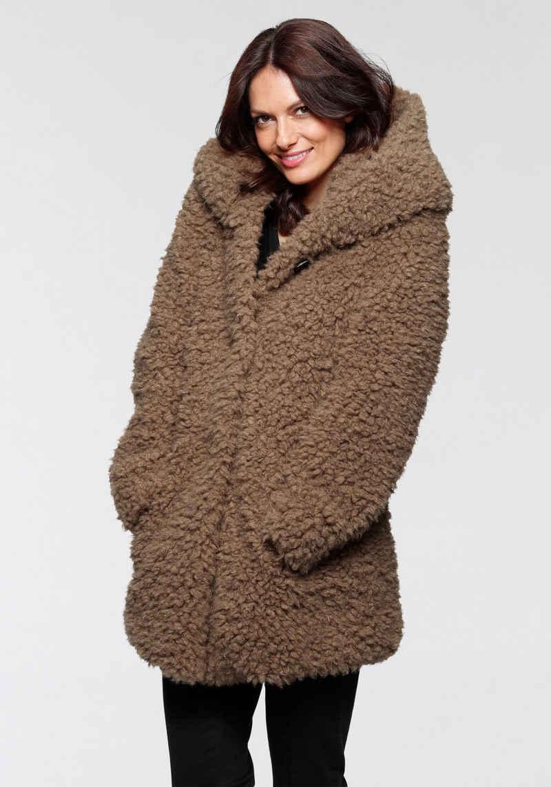 Amber & June Fellimitatjacke aus flauschigem Fake-Fur