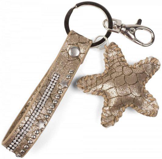 styleBREAKER Schlüsselanhänger, Schlüsselanhänger mit Strass, Nieten und Stern Anhänger