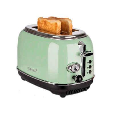 KORONA Toaster 2 Scheiben Retro Toaster, Vintage Style, Design, analoge Röstgrad-Anzeige, Brötchen-Aufsatz, 810 Watt, 21665 - mint