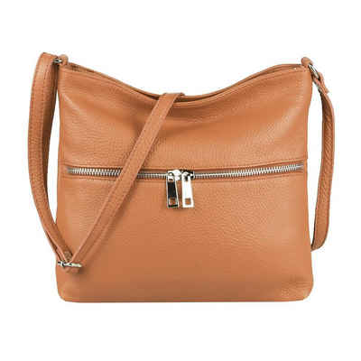 ITALYSHOP24 Schultertasche »Made in Italy Damen Leder Tasche CrossOver«, als Handtasche, Umhängetasche, Shopper tragbar