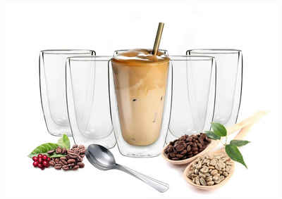Sendez Thermoglas »6 doppelwandige Cappuccino Gläser 200ml mit Edelstahl-Löffel Kaffegläser Teeglas«, Glas