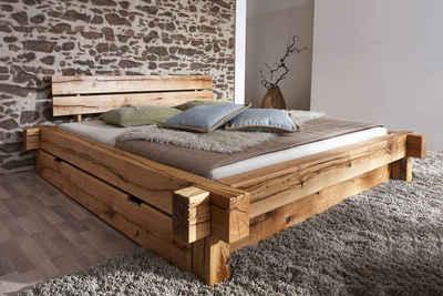 Massivholzbett (Set), wahlweise mit Bettkasten, aus massivem Wildeichenholz in Balken-Optik