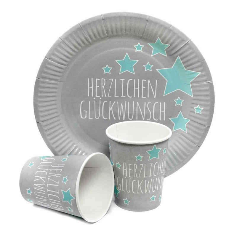 Frau WUNDERVoll Einweggeschirr-Set »Partyset 12 Pappbecher+12 Pappteller Geburtstag,«, Papier