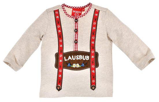 """BONDI Langarmshirt »für Baby Jungen """"Lausbub"""" 91374, Beige - Kinder Trachten Pullover mit Printmotiv«"""