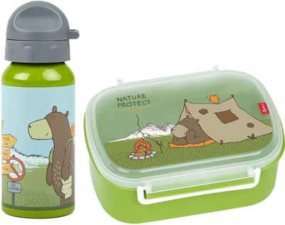 Sigikid Lunchbox »Forest Grizzly«, Polyprophylen (PP), Aluminium, Silikon, (Set, 2-tlg), mit Trinkflasche