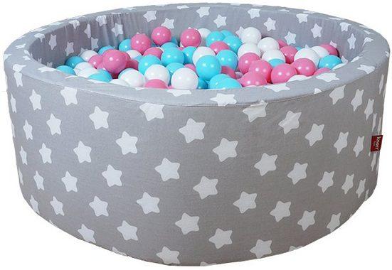 Knorrtoys® Bällebad »Soft, Grey white stars«, mit 300 Bällen rose/creme/lightblue; Made in Germany