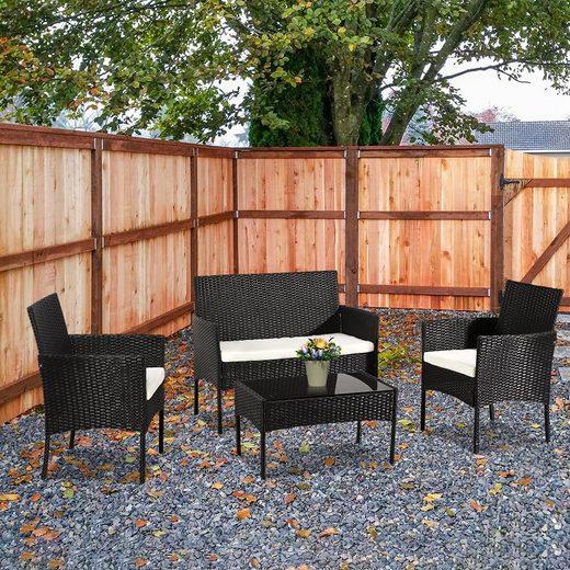 Gotui Gartenmöbelset, 4-teiliges Rattan-Set 2 Einzelsessel 1 Doppelsessel 1 quadratischer Couchtisch beige 5cm Kissen schwarz, grau