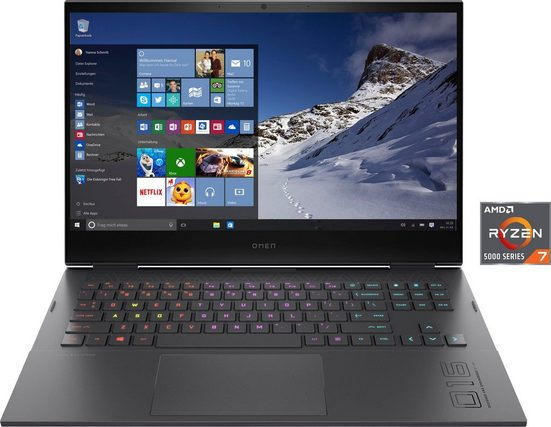 OMEN 16-c0274ng Gaming-Notebook (40,9 cm/16,1 Zoll, AMD Ryzen 7, Radeon RX 6600M, 1000 GB SSD, Kostenloses Upgrade auf Windows 11, sobald verfügbar)