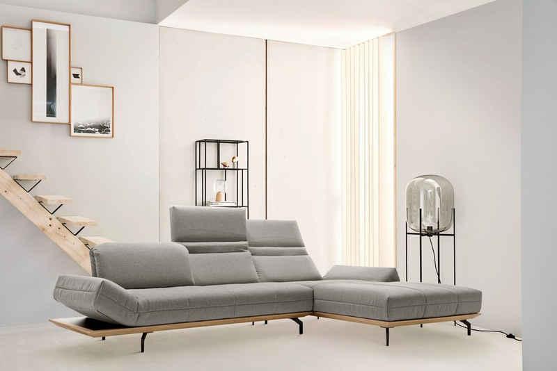 hülsta sofa Ecksofa »hs.420«, XL in 2 Qualitäten, Holzrahmen in Eiche Natur oder Nußbaum