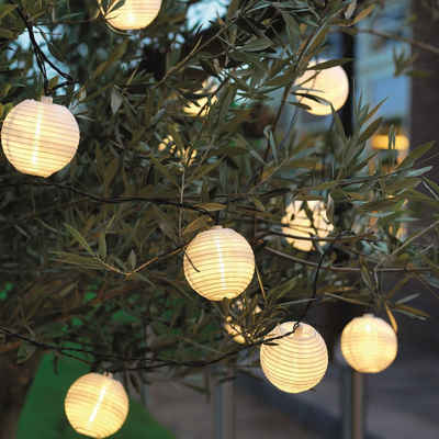 MARELIDA LED-Lichterkette »LED Solar Lichterkette LAMPION - 10 warmweiße LED - L: 4,5m - weiße Lampions«, 10-flammig