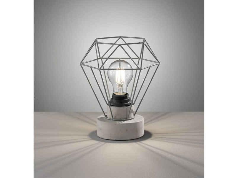 FHL easy! LED Tischleuchte, ausgefallene Vintage Gitterlampe Beton-Optik Grau – kleine Industrial Design-Lampe für die Fensterbank & Flurbeleuchtung