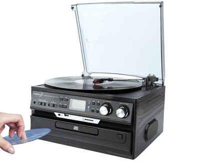 Cyberlux »CL-3040B Multifunktionsanlage« Plattenspieler (Riemenantrieb, CD, Kassette, Bluetooth, Aufnahmefunktion, Bluetooth)