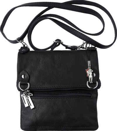 FLORENCE Abendtasche »OTF107S Florence Damen Umhängetasche« (Umhängetasche), Damen Tasche aus Echtleder, Rindsleder in schwarz, ca. 18cm Breite, Made-In Italy