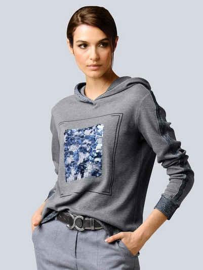 Alba Moda Kapuzenshirt mit Pailletten-Motiv