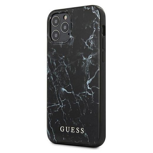 Guess Handyhülle »Guess Marble Collection Apple iPhone 12 / 12 Pro Schwarz Marmor Hard Case Cover Schutzhülle Etui«