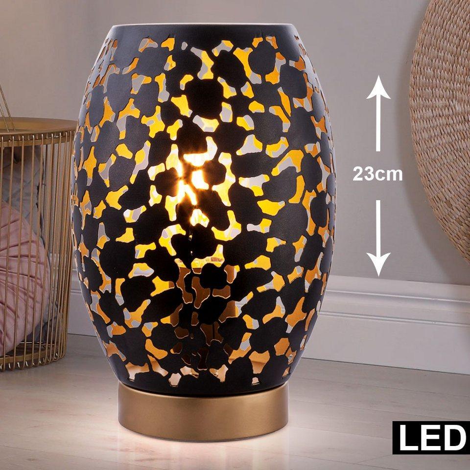 etc shop LED Tischleuchte, Nacht Schreib Tisch Leuchte schwarz gold Dekor  Stanzungen Lese Lampe im Set inkl. LED Leuchtmittel online kaufen   OTTO