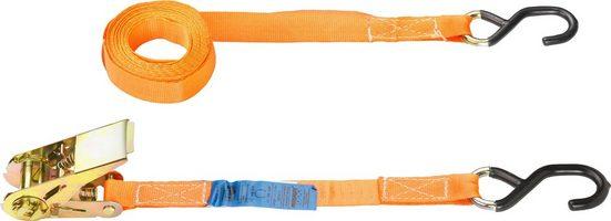 Connex Zurrgurt zweiteilig, mit Spannratsche und S-Haken, 400 cm